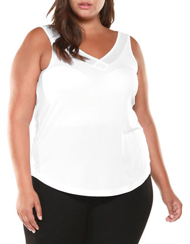 Dex Plus V-Neck Tank Top-WHITE-3X