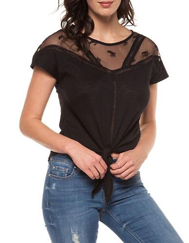 Dex Tie-Front Lace Top-BLACK-Medium 90011750_BLACK_Medium