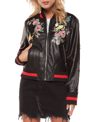 Dex Butterfly and Floral Bomber Jacket-BLACK-Large 90087323_BLACK_Large