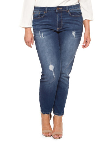 Dex Plus Ripped Denim Jeans-BLUE-22W