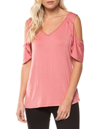 Dex Butterfly V-Neck Cold-Shoulder Top-PINK-Small