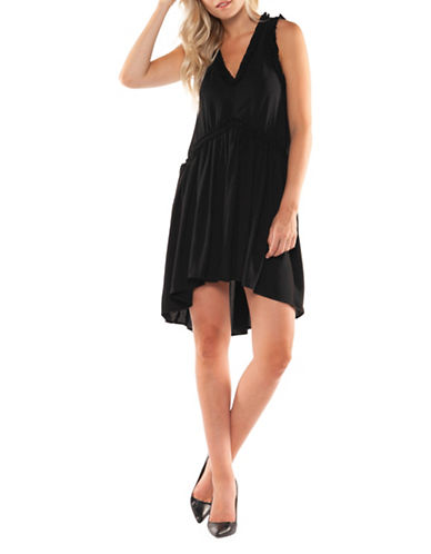Dex V-Neck Ruffle Dress-BLACK-X-Large