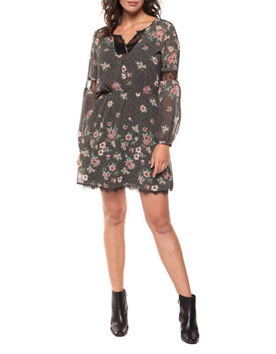 Dex Floral Fit-and-Flare Dress-MULTI-Medium