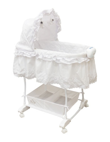 Bily Rocking Bassinet with Two Sheets-WHITE-One Size