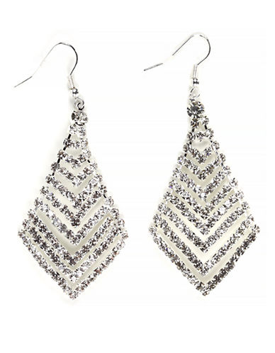 Expression Rhinestone Lozenge Chandelier Earrings-SILVER-One Size