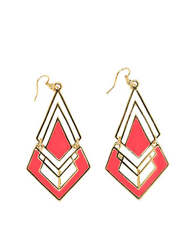 Material girl Diamond Shaped Enamel Earrings pink One Size