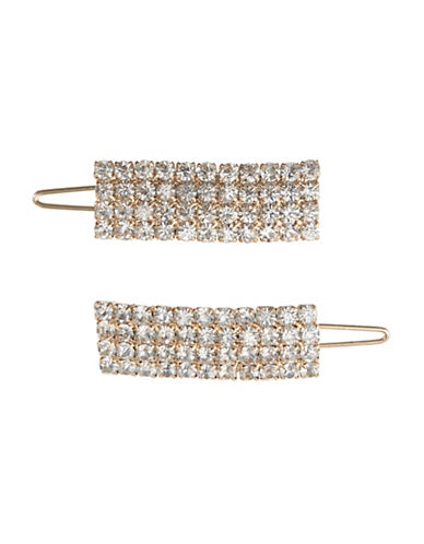 Expression 2 Pack Rectangular Rhinestone Hair Clips-GOLD-One Size
