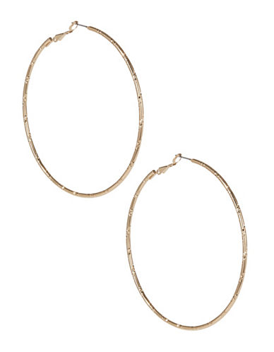 Expression Textured Hoop Earrings-GOLD-One Size