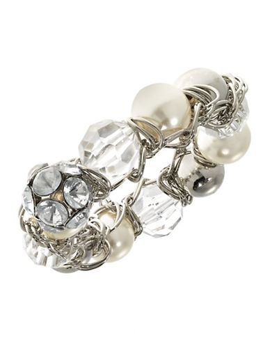 Expression Multi Bead Stretch Bracelet-SILVER-One Size