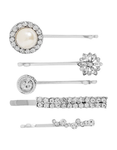 Expression Pearl and Rhinestone Bobby Pins-SILVER-One Size