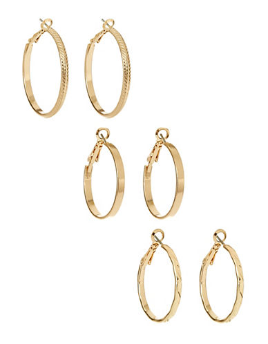 Expression Three Pack Mixed Hoop Earrings-GOLD-One Size
