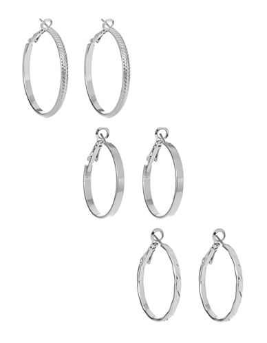 Expression Three Pack Mixed Hoop Earrings-SILVER-One Size