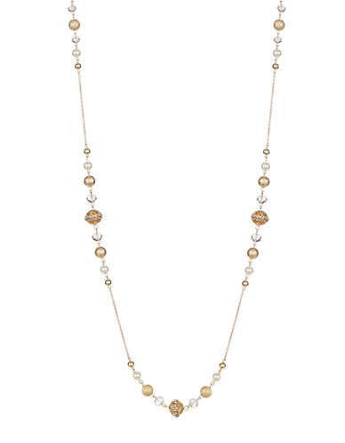Expression Mixed Bead and Chain Necklace-BEIGE-One Size