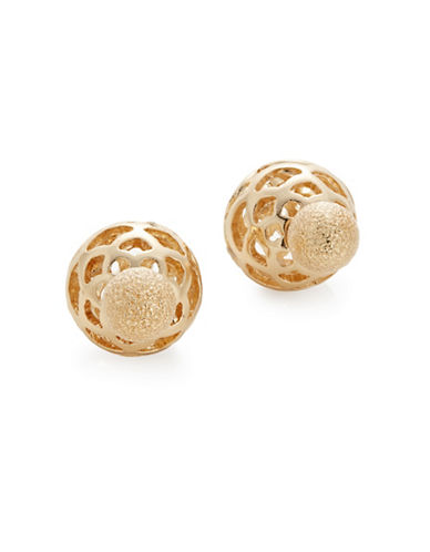 Expression Two-Sided Barbell Earrings-GOLD-One Size