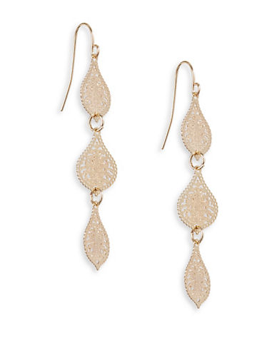 Expression Three-Tier Filigree Drop Earrings-GOLD-One Size