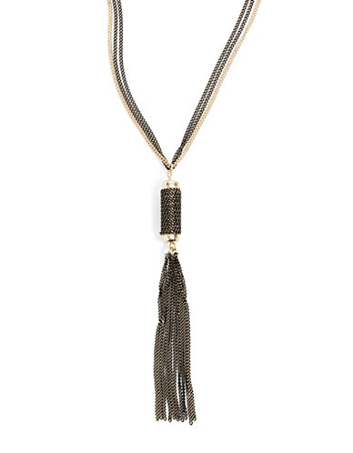Expression Two-Row Tassel Pendant Necklace-BLACK-One Size