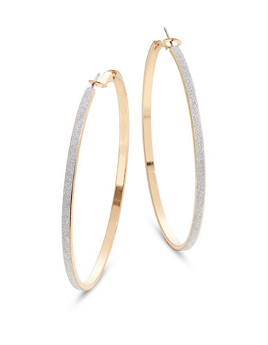 Expression Large Glitter Paper Hoop Earrings-SILVER-One Size