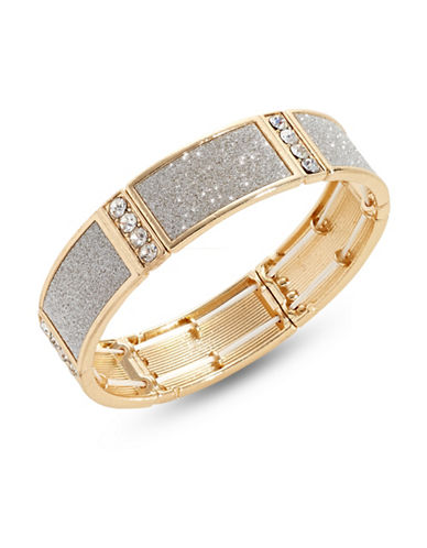 Expression Studded Goldtone Glitter Stretch Bracelet-GOLD-One Size