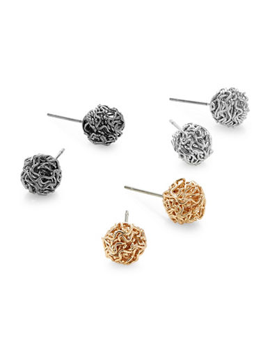 Expression Three-Pair Flower Stud Earrings-ASSORTED-One Size