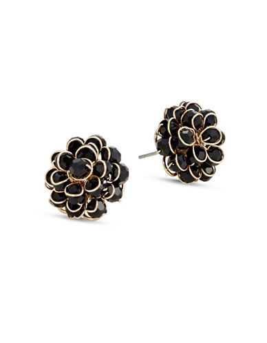 Expression Beaded Wire Flower Stud Earrings-BLACK-One Size