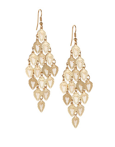 Expression Tiered Leaf Earrings-GOLD-One Size