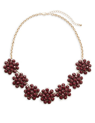 Expression Beaded Flower Statement Necklace-RED-One Size 88717137_RED_One Size