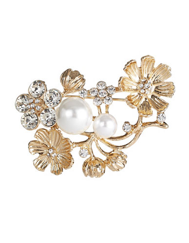 Expression Floral and Faux Pearl Brooch-GOLD-One Size