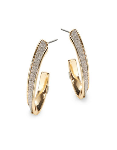 Expression Glitter Oval Open-Back Hoop Earrings-GOLD-One Size