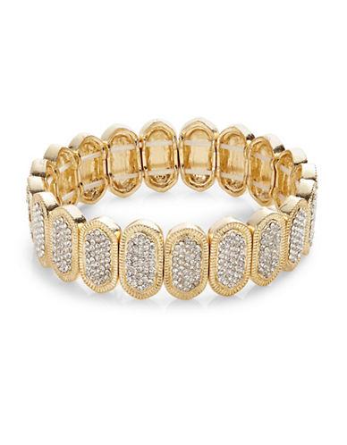 Expression Pave Oval Stretch Bracelet-GOLD-One Size
