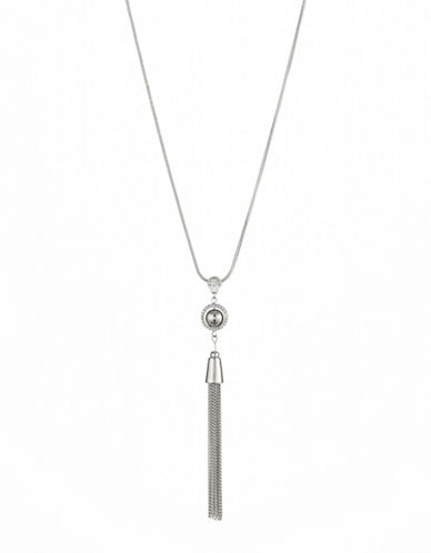 Expression Long Tassel with Stone Necklace-SILVER-One Size