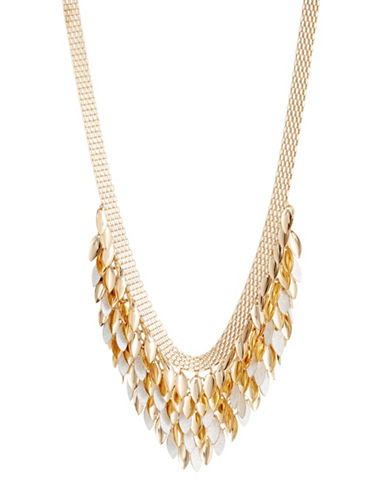 Expression Dangly Leaves on Mesh Necklace-GOLD-One Size
