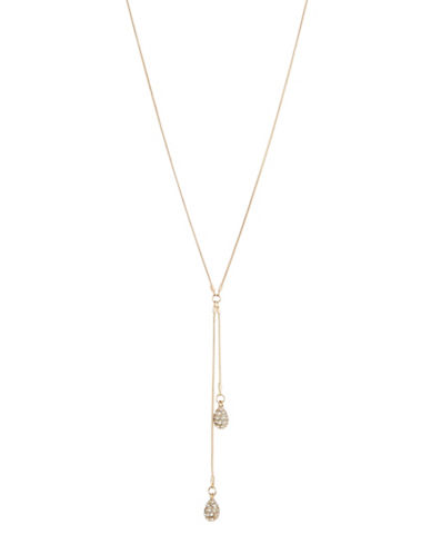 Expression Double Pave Teardrop Y-Necklace-GOLD-One Size