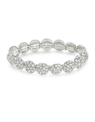 Expression Pave Discs Stretch Bracelet-SILVER-One Size