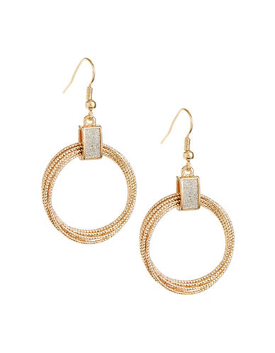 Expression Goldtone Glitter Drop Earrings-SILVER-One Size