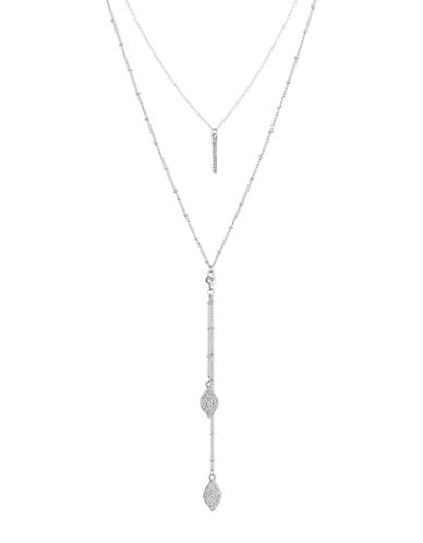 Expression Two-Row Teardrop X Necklace-SILVER-One Size
