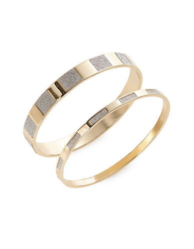 Expression Two-Pack Glitter Combo Bangle Bracelet Set-GOLD-One Size