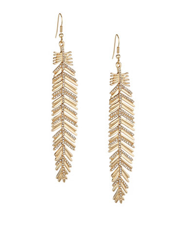 Expression Long Leaf Drop Earrings-GOLD-One Size