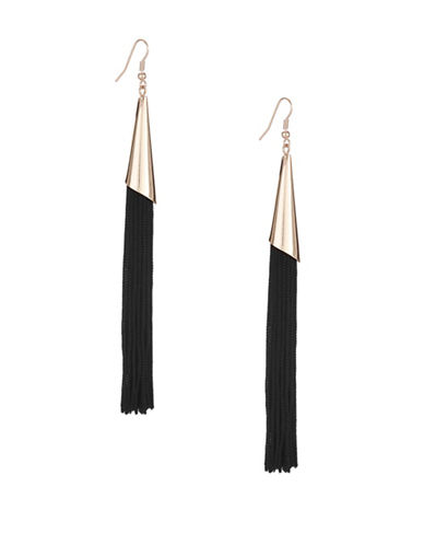 Expression Long Capped Tassel Drop Earrings-BLACK-One Size