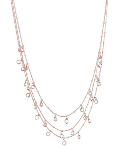 Expression Three-Row Faceted Stone Necklace-ROSE GOLD-One Size