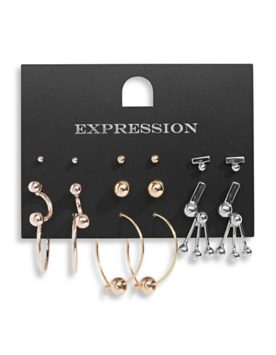 Expression Nine-Pack Studded Earrings-ASSORTED-One Size