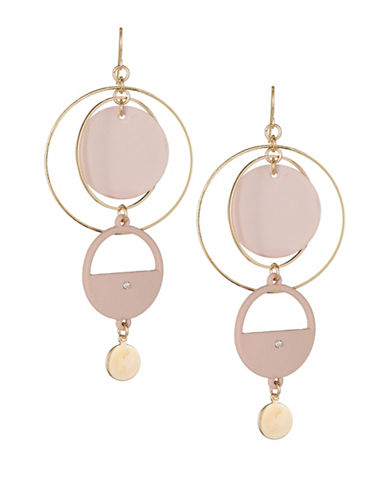 Expression Disc Gypsy Hoop Earrings-PINK-One Size