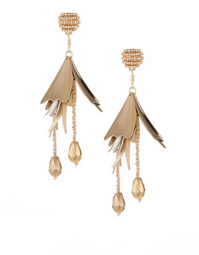 Expression Petal Cluster Drop Earrings-GOLD-One Size