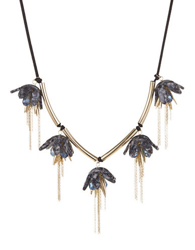 Expression Drooping Lily Frontal Necklace-BLACK-One Size