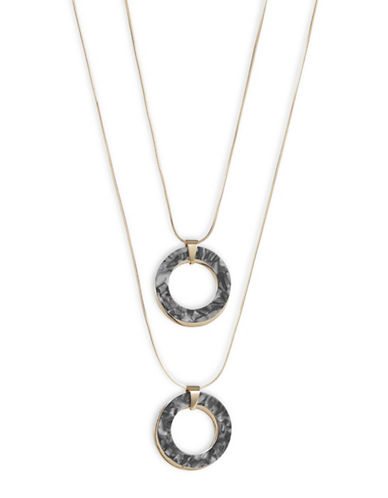 Expression Double Ring Pendant Necklace-GREY-One Size