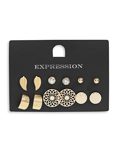 Expression Six-Pair Textured Stud Earrings Set-GOLD-One Size