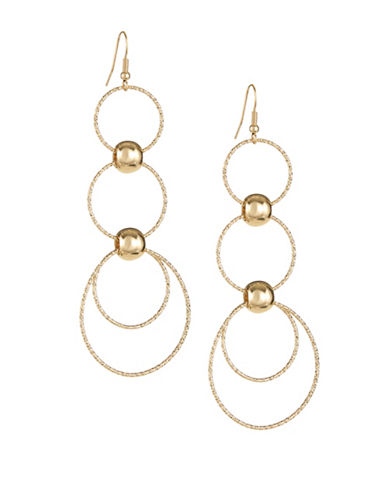 Expression Triple-Drop Disc Earrings-GOLD-One Size
