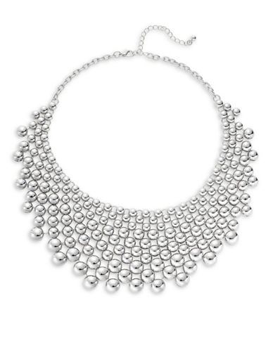 Expression Graduated Dome Bib Necklace-SILVER-One Size