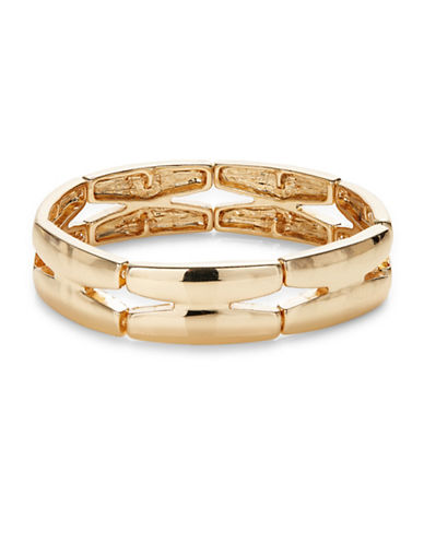 Expression Cut-Out Rectangle Stretch Bracelet-GOLD-One Size