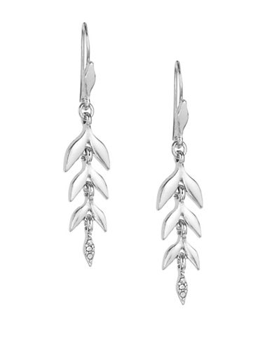 Expression Leaf Drop Earrings-SILVER-One Size