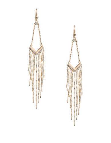 Expression Chevron Pave Drop Earrings-ROSE GOLD-One Size